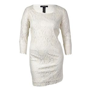 Style & Co. White Lace 3/4 Sleeve Mid-Thigh Dress